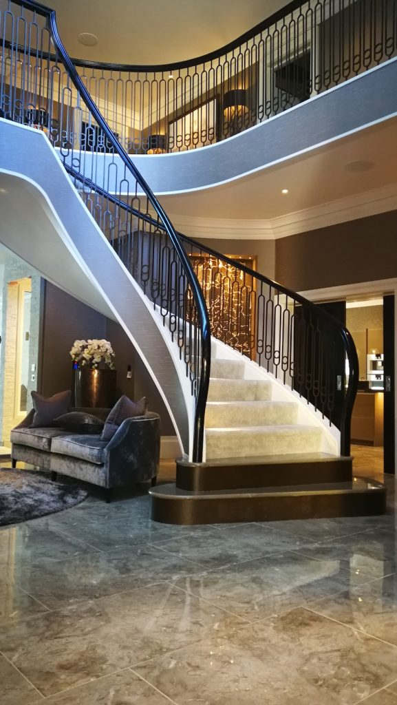 spindled staircase, wrought iron staircase