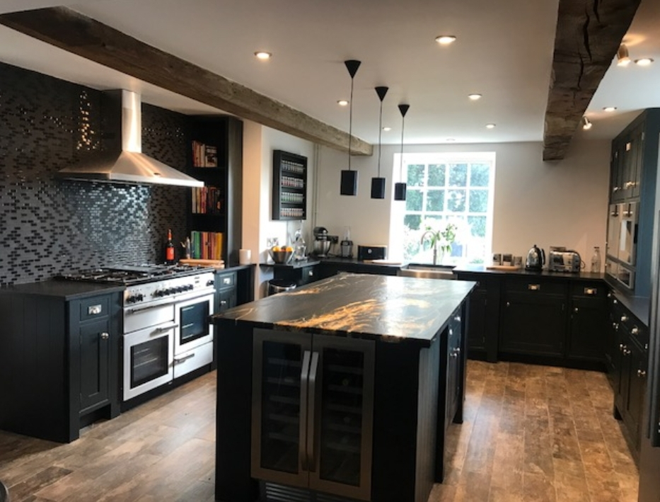 kitchen cabinet painting, dark blue kitchens, black painted kitchen, painted kitchen derbyshire, kitchen painter derbyshire