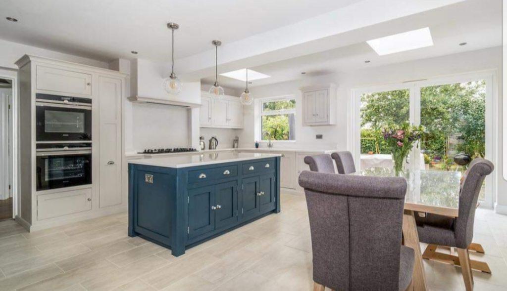 kitchen cabinet painter, hauge blue, cornforth white. specialist kitchen painter, cabinet painter