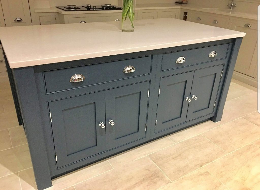 Cabinet painting, blue kitchens, grey kitchens, high wycombe kitchen, hand painted blue, Hague blue, Cornforth