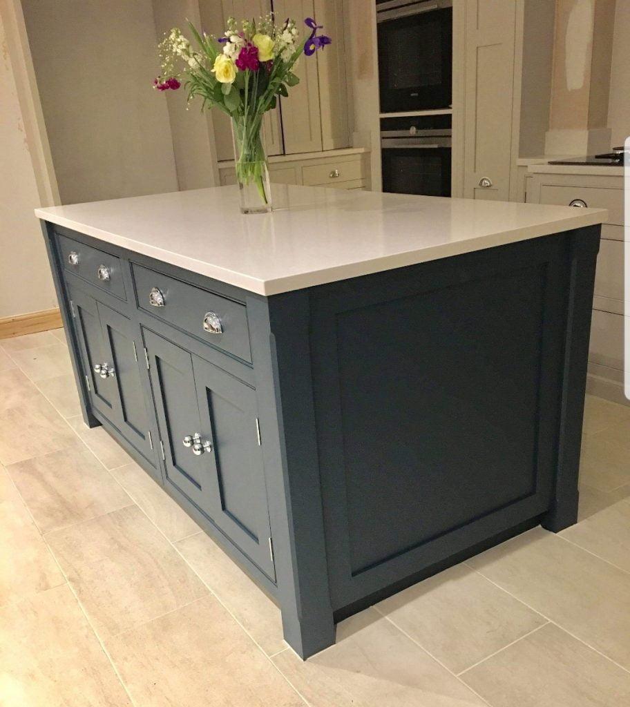 painted blue kitchen, Cornforth white kitchen, handmade kitchens direct, Hague blue, Stiffkey Blue, kitchen cabinet painting