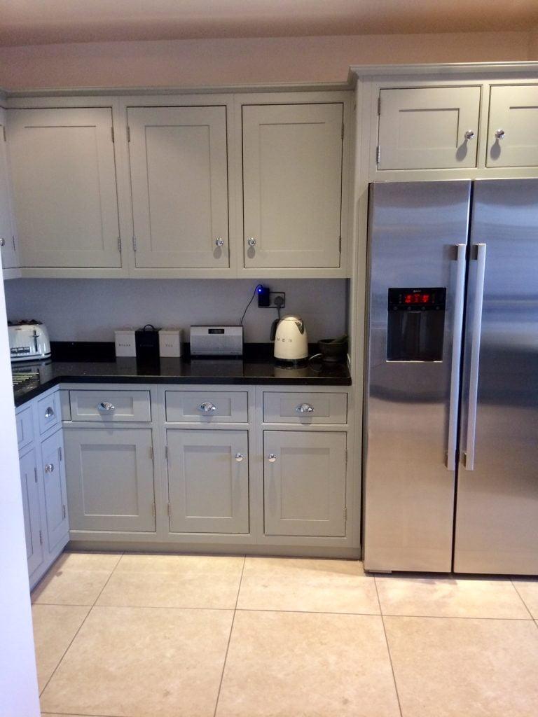 Grey kitchen cabinets, off black kitchen cabinets, kitchen makeover in derbyshire