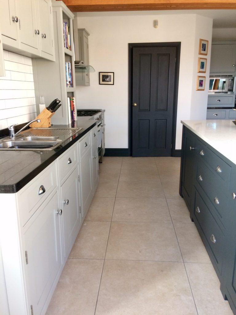 black and grey kitchen, kitchen cabinet painter, painted kitchen derbyshire, off black island