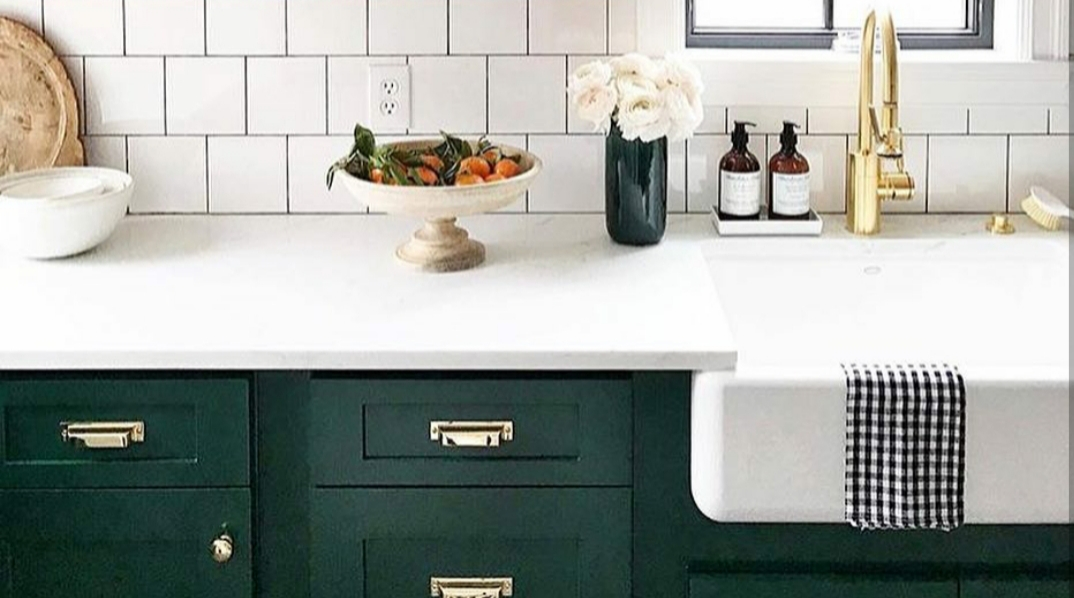 painted green kitchen